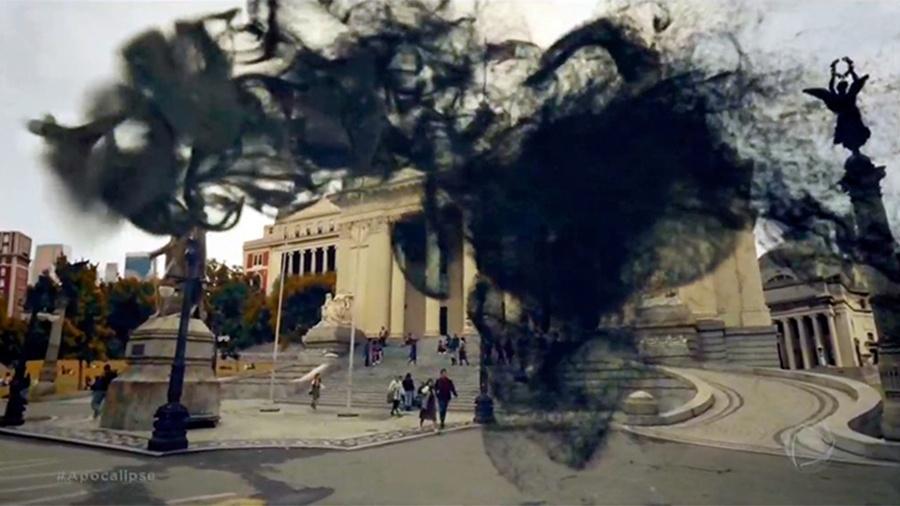 """Fumaça negra que representa o """"demo"""" e as forças do Mal em """"Apocalipse"""" - Reprodução/Record"""