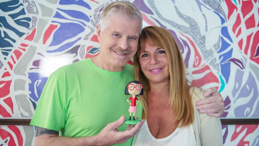 Miguel Falabella e a escritora e ilustradora Suppa, criadora da personagem Charlotte Lunette - Divulgação