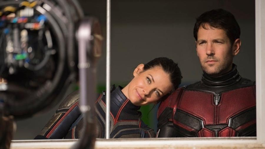 Evangeline Lilly e Paul Rudd nos bastidores do filme da Marvel - Divulgação