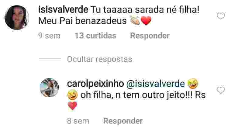 Isis comenta publicação de Carolina - Reprodução/Instagram - Reprodução/Instagram