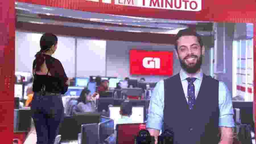 """Fátima Bernardes elogia roupa de Cauê Fabiano no """"Encontro"""" - Reprodução/TV Globo"""