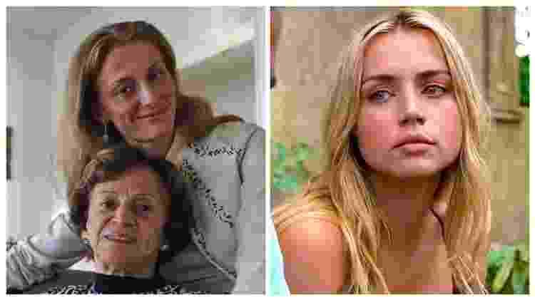 Carolina Larriera com Gilda, mãe de Sérgio Vieira de Mello, em 2004; à esquerda, Ana de Armas como a economista no filme 'Sergio' - Folhapress e Divulgação/Netflix