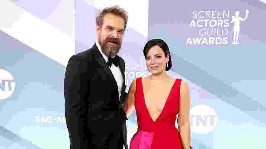 David Harbour e Lily Allen no SAG Awards, em Los Angeles (EUA) - Rich Fury/Getty Images