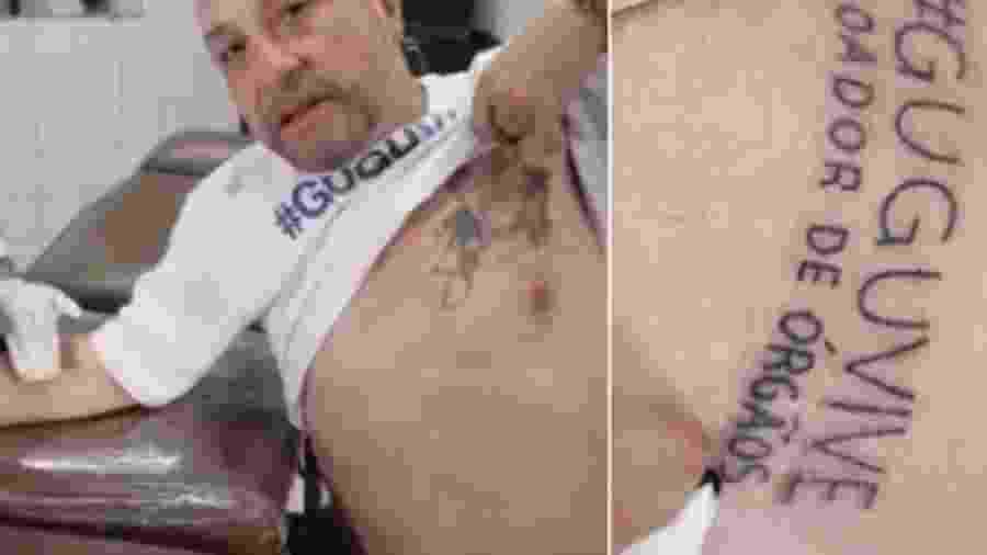 """Walter Wanderley, o diretor Goiabinha, tatuou o nome da campanha """"Gugu Vive"""" - Reprodução/Instagram"""