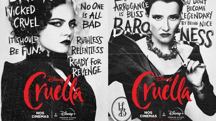 """Emma Stone e Emma Thompson em cartazes novos de """"Cruella"""" - Divulgação"""