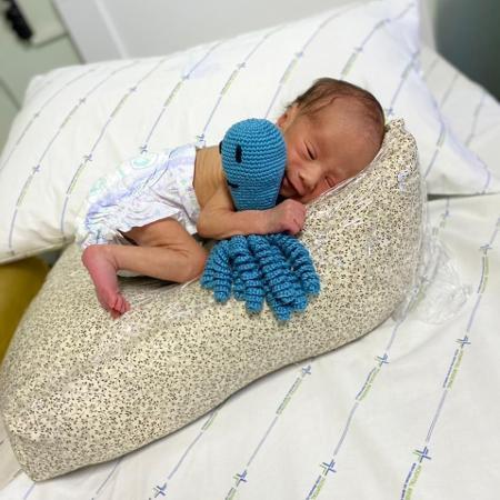 Bebê segura polvinho em UTI neonatal: conforto e aconchego - Divulgação/Hospital Bom Conselho