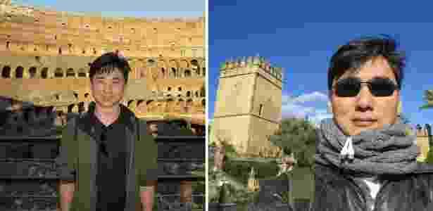 Jonas conhecendo o Coliseu de Roma (Itália), em 2013, e em Córdoba (Espanha) em 2015 - Montagem/Arquivo pessoal