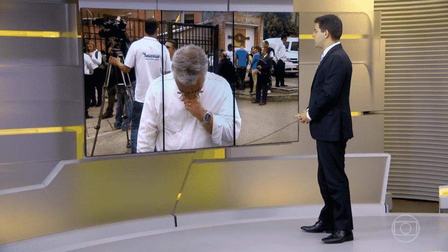 """Ari Peixoto não segura a emoção e chora a perda de Guilherme Marques, companheiro de emissora, durante o """"Jornal Hoje"""" - Reprodução/TV Globo"""