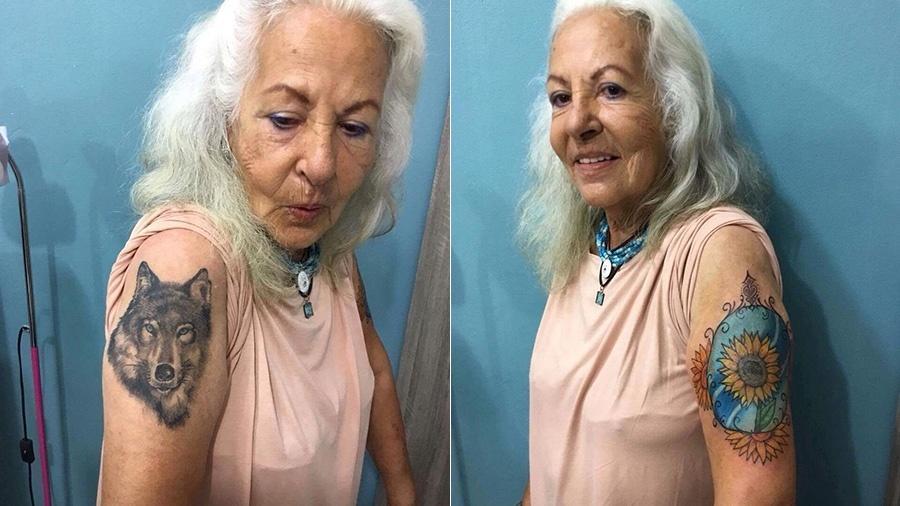 Dona Fátima exibe suas duas novas tatuagens - Pedro Faleiros/ Sun7 Tattoo Shop
