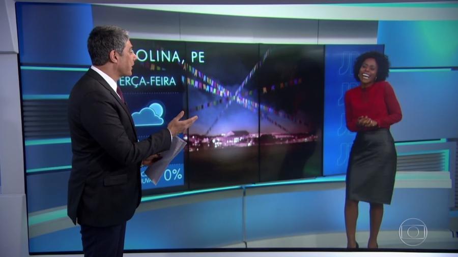 """William Bonner elogia estreia de Maria Júlia Coutinho na bancada do """"Jornal Hoje"""" - Reprodução/TV Globo"""