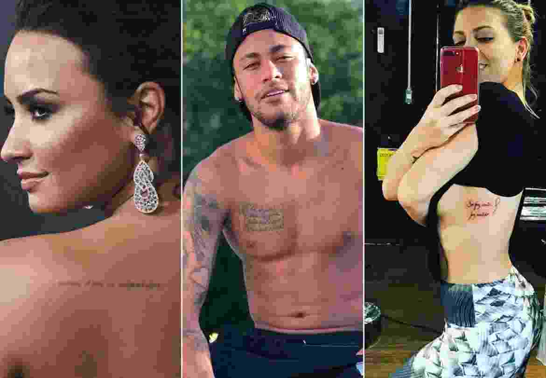 Os tatuados Demi Lovato, Neymar e Sheila Mello - Montagem/UOL