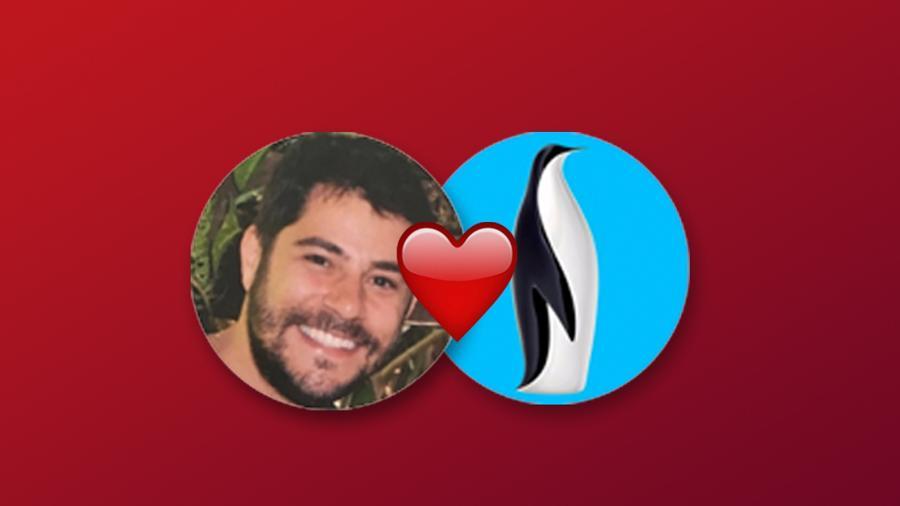 Evaristo Costa e o Pinguim Ponto Frio, em montagem que vai ao ar nas redes sociais para a black Friday 2017 - Reprodução
