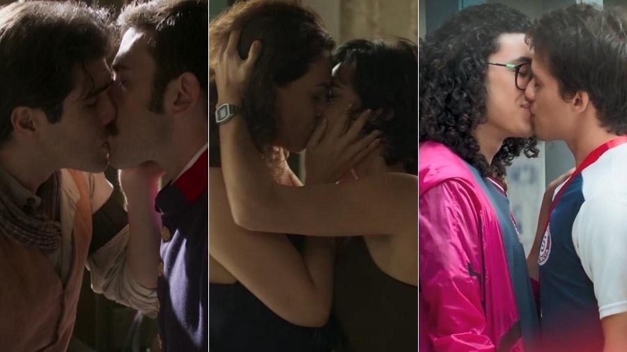 """Beijos gays em """"Orgulho e Paixão"""", """"Segundo Sol"""" e """"Malhação: Vidas Brasileiras"""" - Montagem/UOL/Reprodução/TV Globo"""
