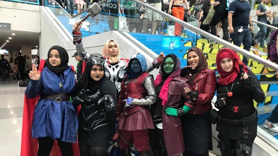 """Meninas muçulmanas fazem cosplay de """"Os Vingadores"""" nos EUA - Reprodução/Twitter"""