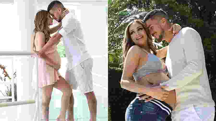 Grávida, Babi Muniz faz ensaio com o noivo, Marcinho, jogador do Atlético Paranaense - Rodrigo Torrezan/Divulgação
