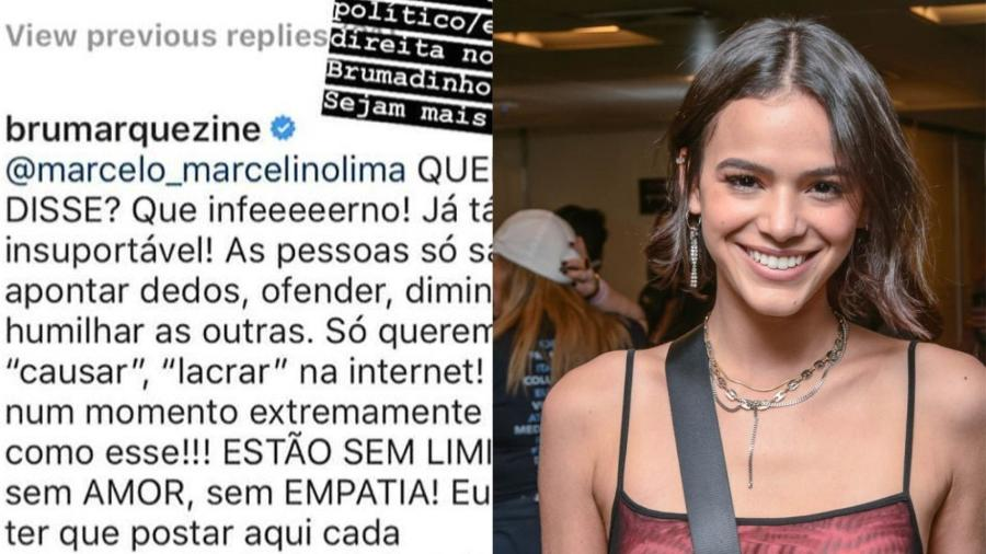 Bruna responde post de seguidor que criticou a atriz nas redes sociais  - Reprodução/Instagram/Montagem UOL