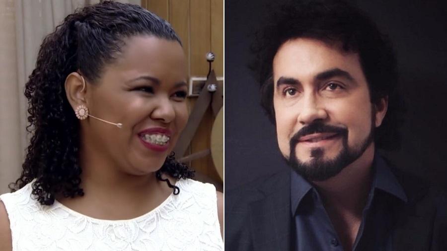 """Raquel Amaral, a """"artesã dos três reais"""", e o padre Fábio de Melo - Montagem/UOL/Reprodução/TV Globo/Instagram/pefabiodemelo"""