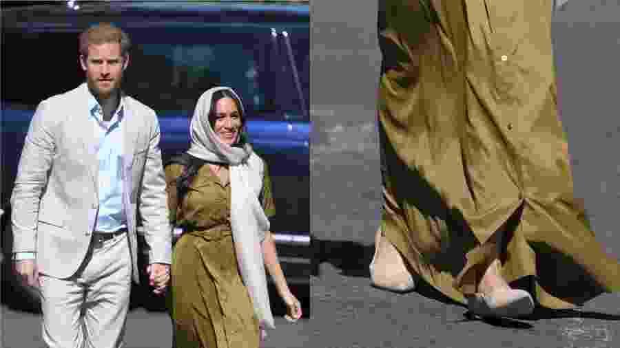 Durante turnê com o príncipe Harry pela África do Sul, Meghan apostou em uma sapatilha clarinha, de bico fino, que quase passou despercebida abaixo do vestido longo verde oliva - Getty Images