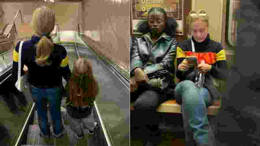 Angélica e a filha, Eva, descem escada de estação de metrô em Nova York; a apresentadora no vagão como anônima - Reprodução/Instagram