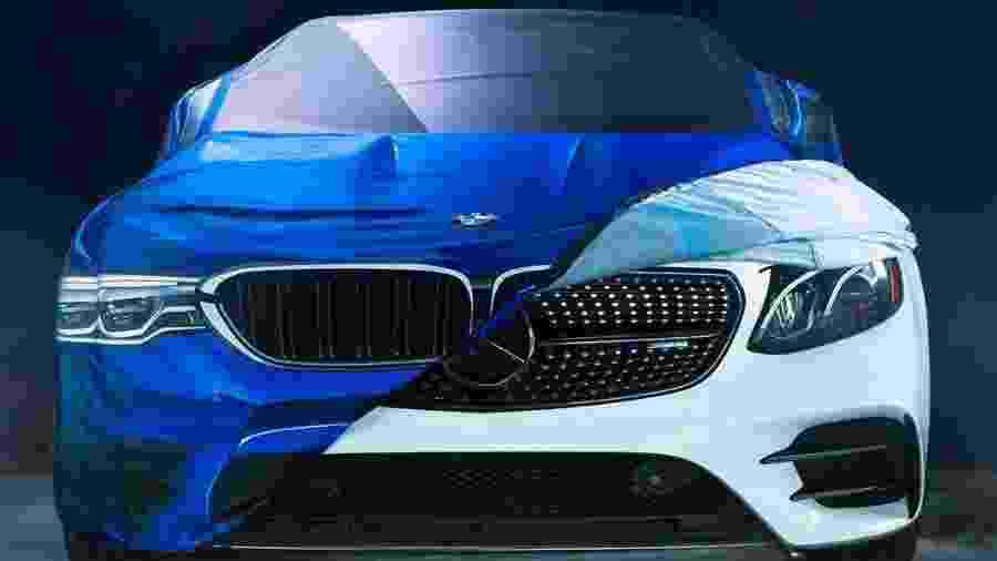 """BMW """"zoou"""" Mercedes em foto na qual uma capa com a imagem do novo M5 posicionada sobre um Mercedes-AMG GT - Twitter"""