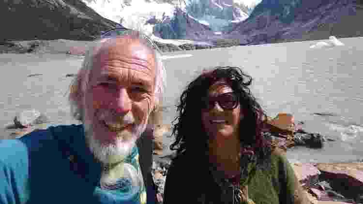 Stefan e Norma em Cerro Torre, no sul da Patagônia, antes de se isolarem na zona rural de Futaleufú - Arquivo pessoal - Arquivo pessoal