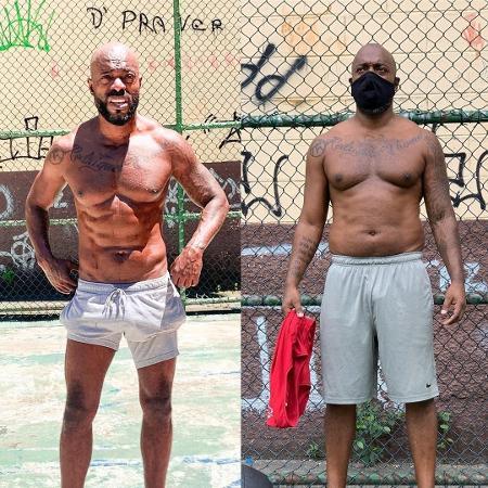 O músico e ator Thiago Thomé parou de treinar na pandemia e perdeu a definição muscular - Reprodução/Instagram