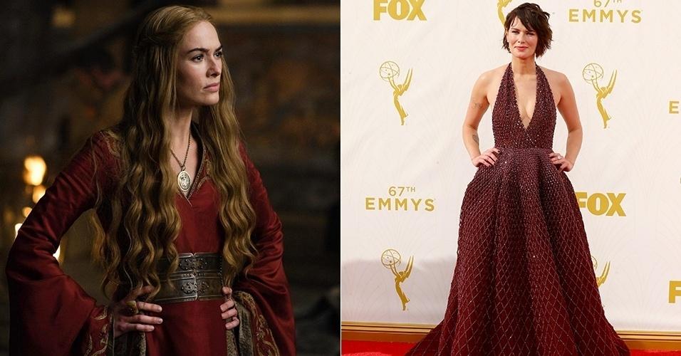 """Sem os cabelos louros de Cersei Lannister, a atriz Lena Headey surgiu em um belo e elegante vinho que até lembra as roupas da rainha de """"Game of Thrones"""""""