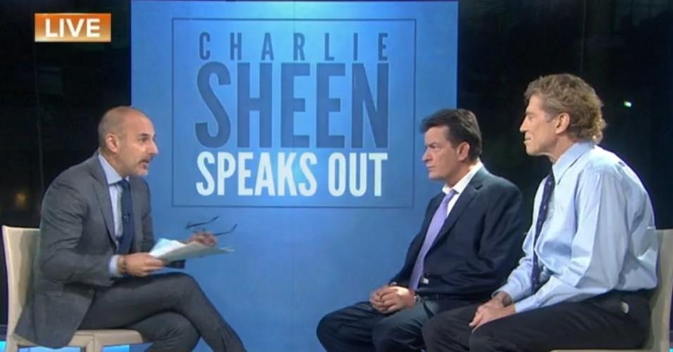 17.nov.2015 - Charlie Sheen e seu médico, Robert Huizenga, falam sobre o tratamento do ator contra o HIV em entrevista ao programa
