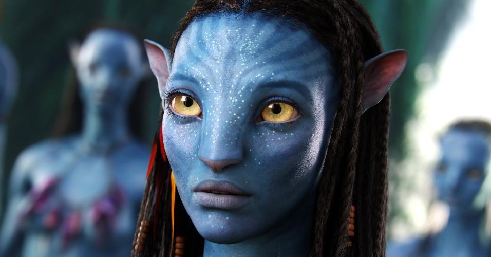 """A atriz Zoe Saldana como Neytiri, em """"Avatar"""""""