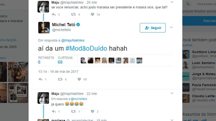 """Michel Teló responde comentário sobre sua """"renúncia à presidência"""" - Reprodução/Twitter - Reprodução/Twitter"""