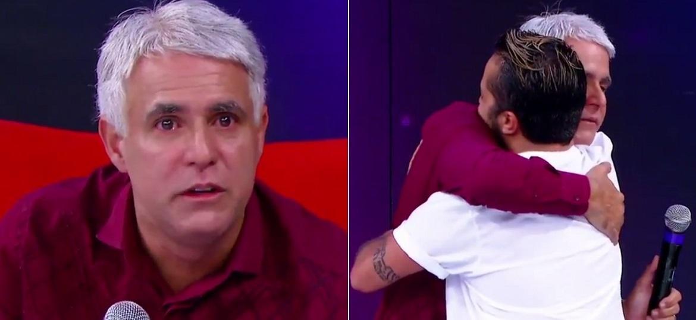 """Pastor Claudio Duarte chora e é abraçado por Thammy Miranda no """"Programa Raul Gil"""" - Montagem/Reprodução/SBT"""