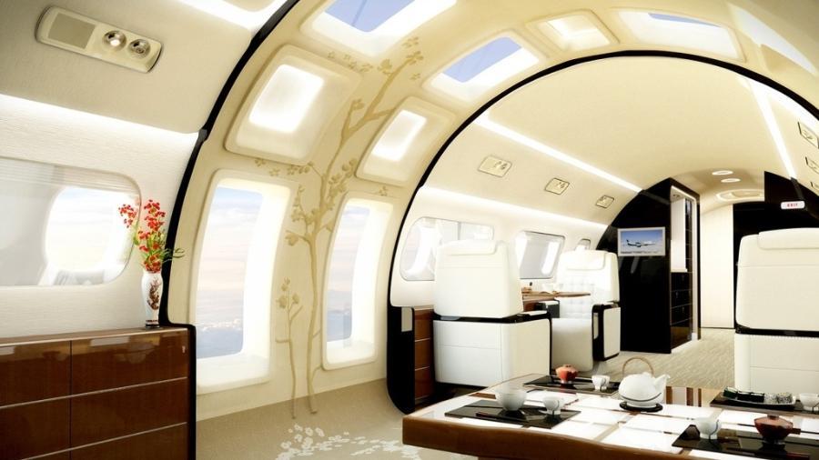 A fabricante brasileira Embraer criou uma cabine com janelas panorâmicas - Divulgação