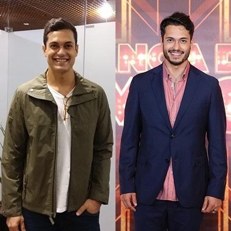 Antes (à direita) e depois (à esquerda) do ator Raphael Vianna, que perdeu 15 kg - Montagem sobre Ana Cora Lima/UOL e Divulgação/TV Globo
