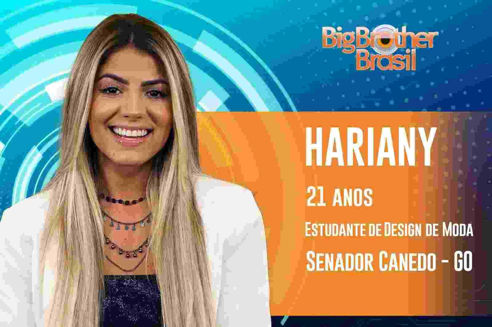 Hariany é a décima participante anunciada do ?BBB19? - Reprodução/TvGlobo