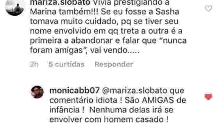 Monica Muniz respondeu uma internauta em comentário de foto de Marquezine e Sasha - Reprodução/Instagram