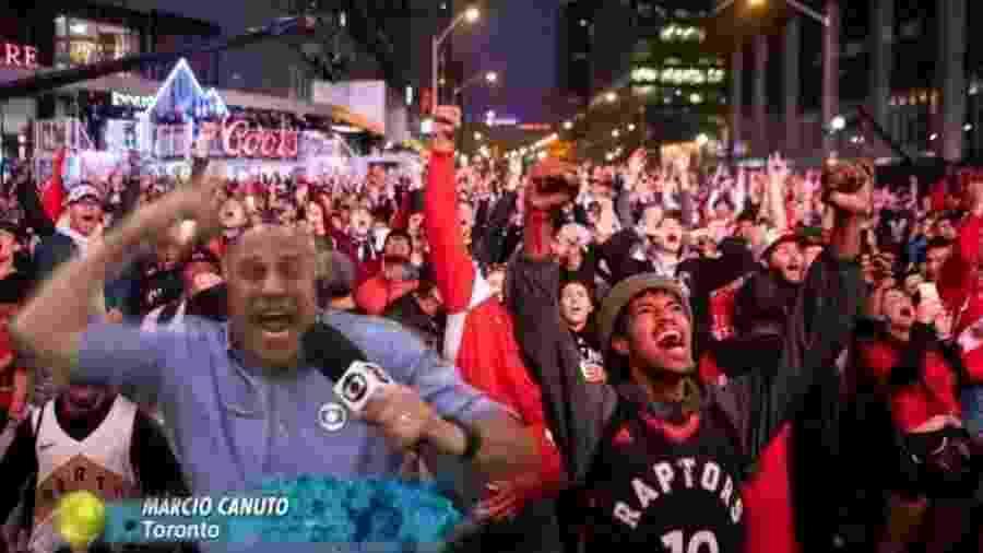 O repórter Márcio Canuto, da Globo, virou meme na final da NBA - Reprodução/Twitter