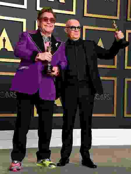 Elton John e Bernie Taupin Oscar tênis - Jennifer Graylock - PA Images/PA Images via Getty Images - Jennifer Graylock - PA Images/PA Images via Getty Images