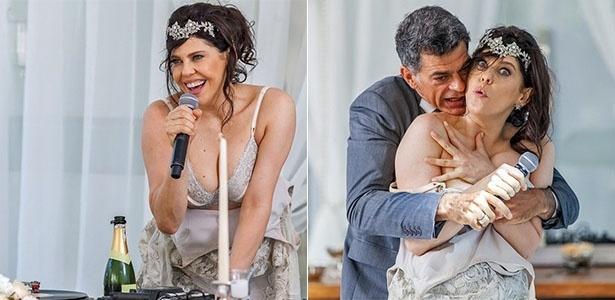 Nelita dá vexame em seu casamento e, bêbada, faz strip-tease