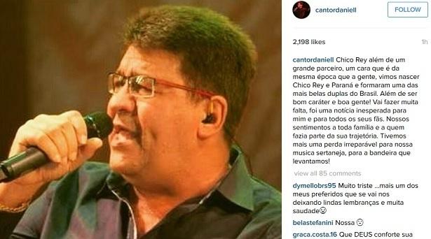 Daniel lamenta a morte de Chico Rey em sua conta no Instagram