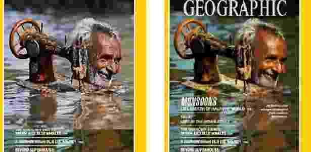 """Segunda imagem mostra edição no espelho d´água em capa da """"National Geographic"""" - Reprodução/Montagem - Reprodução/Montagem"""