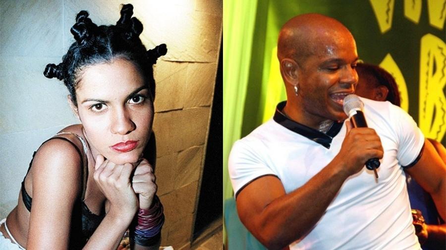 A cantora Gilmelândia e o cantor Reinaldo, ex-Terra Samba - Roberto Price/Folhapress (1999) e AFP (2001)