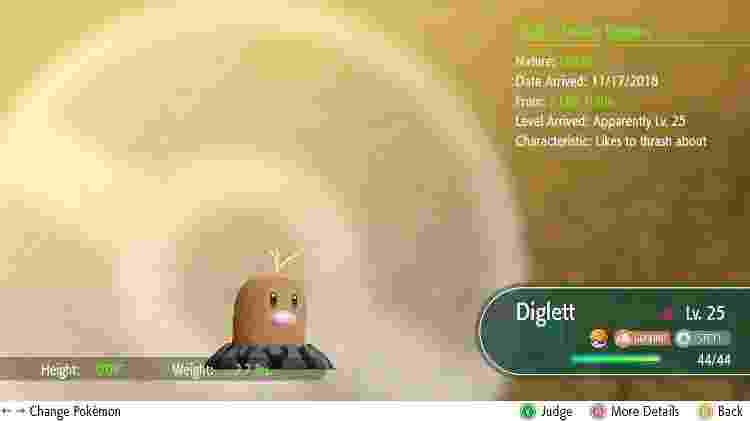 O Diglett original é puramente terrestre. Sua versão Alola tem também o tipo Aço - Reprodução