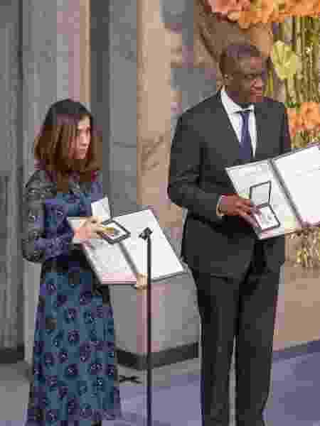 Vencedores de 2018: a ativista iraquiana Nadia Murad e o médico congolês Denis Mukwege - Getty Images