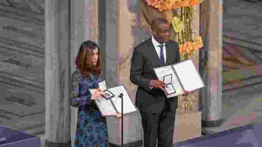 A ativista iraquiana Nadia Murad e o médico congolês Denis Mukwege  - Getty Images