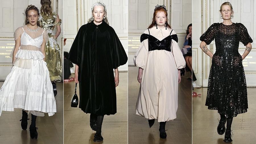 Chloë Sevigny,Marie-Sophie Wilson, Tess McMillan e Jeny Howorth, no desfile de Simone Rocha - Getty Images