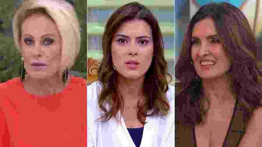 Ana Maria Braga, Michelle Loreto e Fátima Bernardes - Montagem/Reprodução/TV Globo