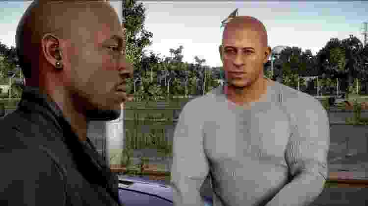 Game traz personagens icônicos da série, como Dom Toretto (dir.) e Roman Pierce - Reprodução
