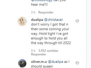 Comentário de Dua Lipa em publicação no Instagram - Reprodução / Instagram - Reprodução / Instagram