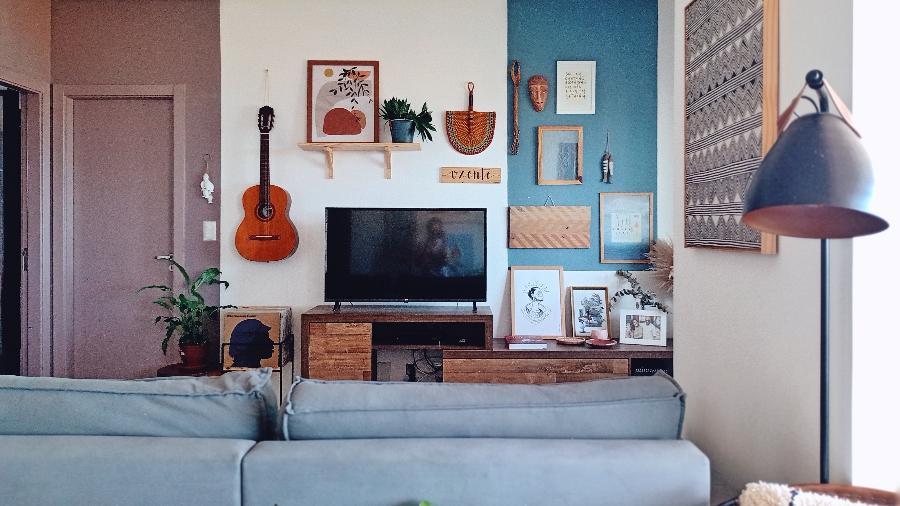 Sala de estar do apartamento de Paulinha, em Salvador, na Bahia - Arquivo Pessoal