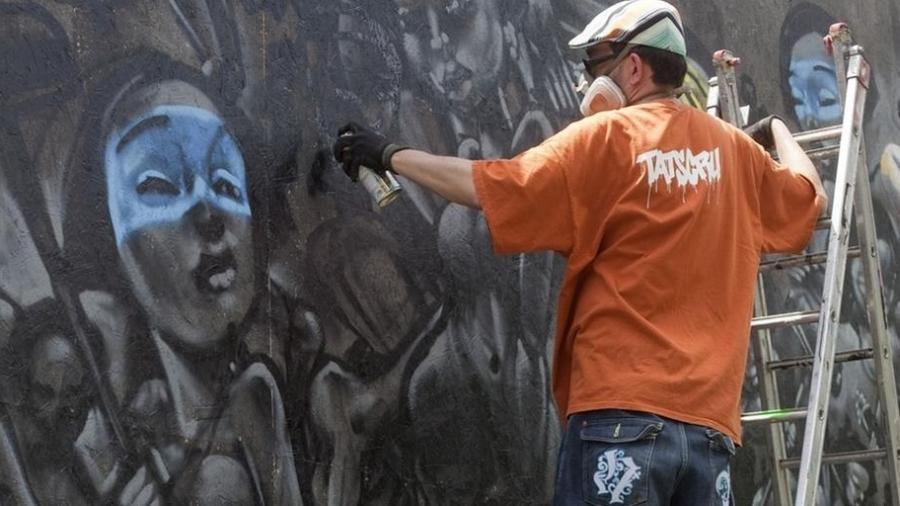 Mural do artista francês Lazoo na Bienal Internacional do Grafite de São Paulo - DW